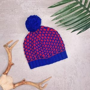 J Crew Blue Red Honeycomb Pom Pom Hat Winter Hat